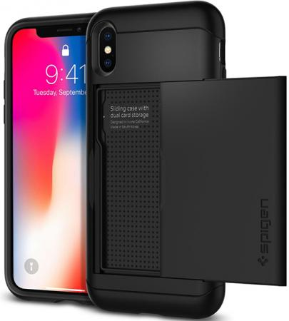 Spigen Case Slim Armor CS for iPhone X, Black (057CS22155)