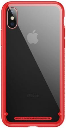 Baseus See-through glass protective for iPhone X, Red (WIAPIPHX-YS09)