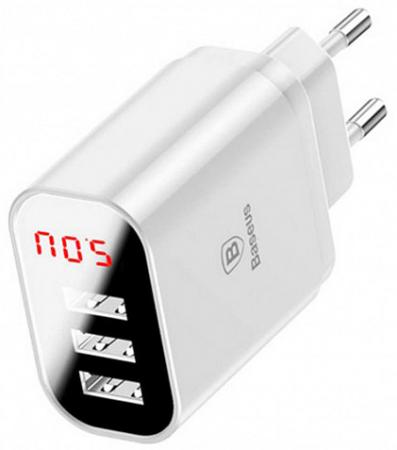 Baseus USB Wall Charger 3xUSB 3.4A Mirror Lake Intelligent Digital Display White (CCALL-BH02)