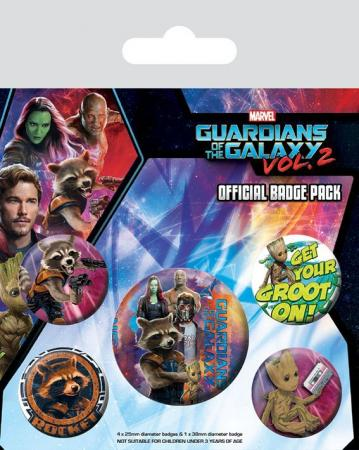 Pyramid Badge Pack: Marvel - Guardians of the Galaxy Vol.2 Rocket & Groot