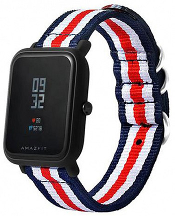 Ремешок для Amazfit Bip 20мм, Blue/White/Red (AMZBPUNTXT-BWR)