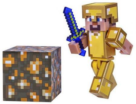 Jazwares Minecraft Steve in Gold Armor серия 3 (16488M)